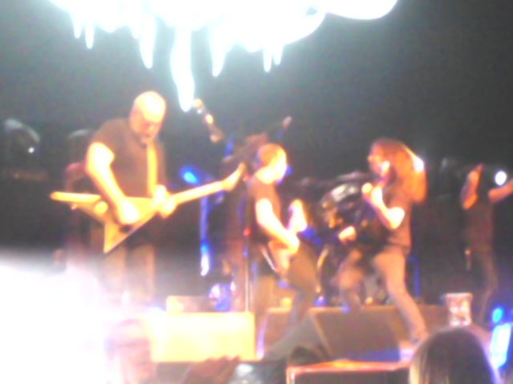 L-to-R: Mike Keneally, Brendon Small, Bryan Beller. Background: Gene Hoglan.