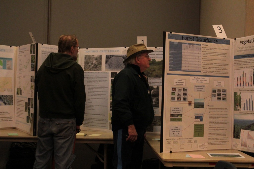 The public had the chance to view poster boards outlining various issues within the forests as well as general information.  Photo by Brandy Carl.