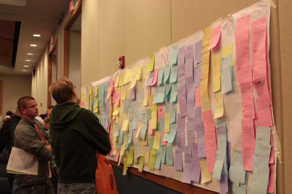 Participants wrote notes explaining how the national forests benefit both indviduals and Western North Carolina.  Photo by Brandy Carl.