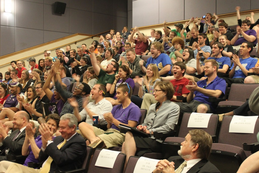 WCU band students, faculty and staff react to the announcement that the Pride of the Mountains Marching Band will be performing in the 2014 Macy's Thanksgiving Day Parade in New York City.  Photo by Ben Haines.