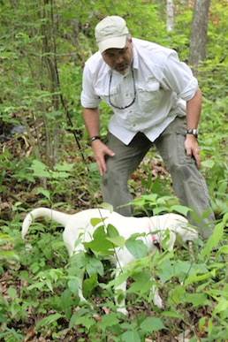 Brad Dennis praises Gracie after she sniffed out the trash bag emanating human decomposition odor. Photo by Ben Haines.