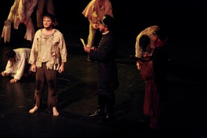 Jean Valjean, played by Chase Edward McCall, has been granted parole by Inspector Javert, played by Cullen Ries.