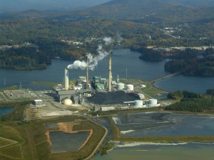 A Duke Energy power plant and coal ash ponds outside Asheville.   Credit zen Sutherland