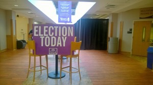 SGA voting booths can be found on the second floor of the UC.  Photo by Ceillie Simkiss