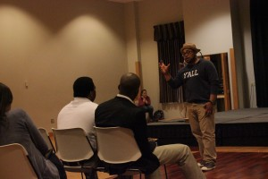 Amir Windom talks to students about flexing purpose, not power. Photo by Kelley Canaday.
