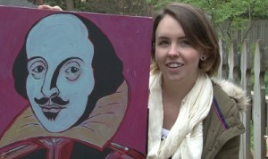 This acrylic painting of Shakespeare links back to Abigail's performing days in musical theatre.
