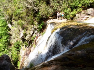 Three hikers admire the view from the top of the Paradise waterfall. Photo by Katie Marshall. 6/14/2014