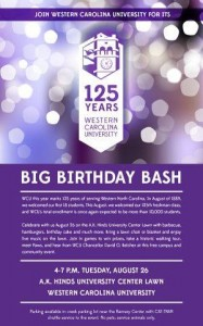 The official Birthday Bash poster. Photo taken from the WCU 125 Facebook Page