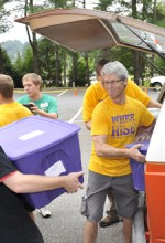 Members of the WCU community including faculty and staff members will be part of the welcome team that helps students on Freshman Move-In Day on Friday, Aug. 15. Photo from WCU Office of Public Relations.