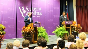 Republican Mark Meadows and Democrat Tom Hill were the first to debate on WCU this election year. Photo by Alina Voronenko.