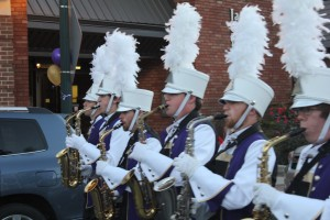 WCU Homecoming 2014 Main Street Parade. The saxophonists of the Pride of the Mountains marching band. Photo by Michael Williams