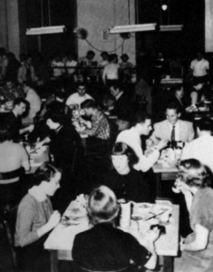 The college cafeteria in Moore Dormitory in the 1950's.