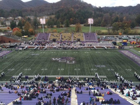 The stage is set for the Chattanooga-WCU football game. Barrett Boyles. 2014.