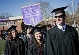 Graduates march into WCU's E.J. Whitmire Stadium. Photo courtesy of WCU office of Public Relations.