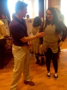 Ryan Denver explaining protection at WCU to Julia Nex.