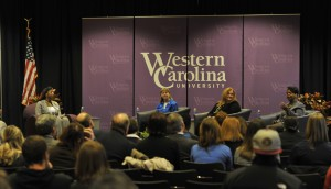 The NC Supreme Court justices speak to WCU community, March 28, 2015. Photo by Mark Hasket, WCU Office of Public Relations.