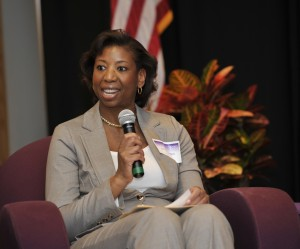 Asheville based attorney and WCU alumna, Jacqueline Grant was the moderator of the event. Photo by Mark Hasket, WCU Office of Public Affairs.