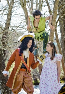 "Peter Pan (Gallagher) looks down from the trees as Captain Hook ( Culton) makes a point to Wendy (Vanderlinden) in a scene from Western Carolina University's upcoming production of ""Peter Pan: The Boy Who Would Not Grow Up."" Photo courtesy of Ashley T. Evans."