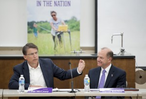 Gov. Pat McCrory (left) and Western Carolina University Chancellor discuss the need for a new science building at Western Carolina University. Photos by Ashley T. Evans.