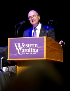 In his remarks, Chancellor David O. Belcher repeatedly expressed appreciation to university faculty and staff for helping attract and retain students. Photo courtesy of WCU Office of Public Relations.