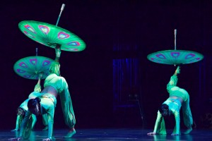 The Acrobats performing with parasols. Photograph by Storm Favara