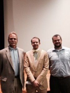 From left to right: Dr. David Dorondo, from WCU, Dr. Waitman Wade Beorn, Executive Director of Virginia Holocaust Museum, and Dr. Robert Ferguson from WCU after the lecture on the Holocaust in Ukraine, Sept. 17, 2015. Photo by Chad Grant.
