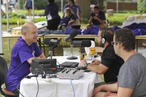 Power 90.5 students interview Chancellor Belcher on Freshmen Move-In Day. Photo by Mark Haskett.