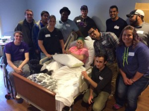 Phi Mu Alpha visiting Julia in the hospital. Photo from Julia's Facebook.