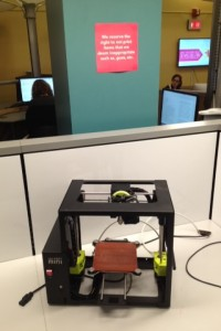 3D printer for student use in 3DU section of the library.
