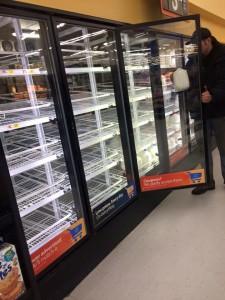 Hardly any milk left at Walmart in Sylva due to Jonas. Photo by Mary Mazzucco.