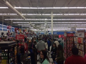 The checkout lines in Walmart were spilling into the store Thursday, Jan. 21. Photo by Bradley Lucore.