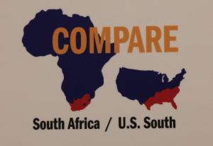 The exhibit uses this geographic comparison of South Africa and the U.S. South to describe the similarities and differences between them.