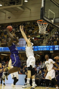 Catamount Forward, Torrion Brummitt attempts a contested shot against Wofford, March 5, 2016. Photo by Calvin Inman.