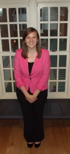 Student Katie Endsley posses in professional attire. Photo taken by Meghan O'Sullivan.