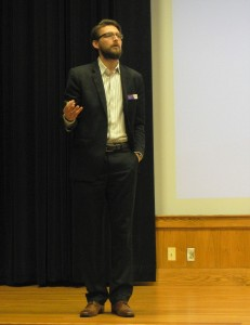 Director of the Center for Service Learning, Lane Perry, introduces Intentional Conversations. Photo by Shelby LeQuire.
