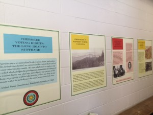 Some of the panels in the new Cherokee voting rights portion of the exhibit. Photo credit: Haley Smith