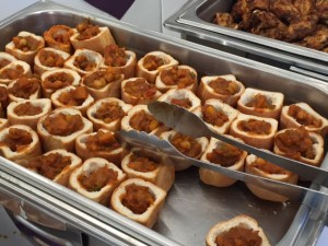 Bunny chow is veggie curry in miniature bread bowls. Photo credit: Haley Smith.