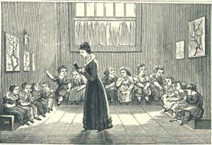 A young teacher instructs her students, via American Antiquarian