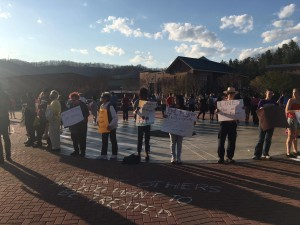 Students at Western Carolina University and faculty protest to support Black Lives Matter - Monday, April 4 - Photo by Alec Simkiss