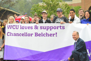 Students show support for Chancellor Belcher.