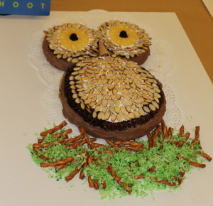 The best visual winner, Shirley Beck, created an owl cake in representation of Hoot. Photo by Haley Smith