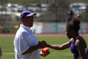 Coach Danny Williamson talking with one of Western Carolina's runners. Photo by Calvin Inman