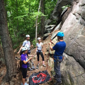 Haas guiding a small group on a climbing trip. Photo by