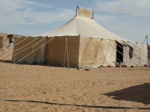 One of the refugee camps tents. Photo provided by Booth