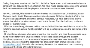 Except from the email sent to WCU Students and Faculty from Randy Eaton.
