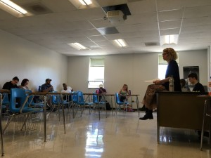 Laura Wright facilitates discussion during one of her classes. Photo by Tabitha Hill