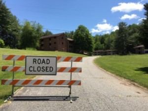 The road to the old staff/faculty housing is blocked as construction begins, May 13, 2016. Photo by Jeff Grant.