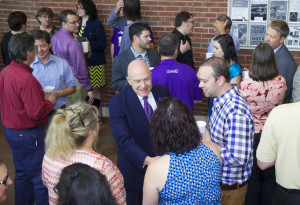 Chancellor Belcher greets people at the Open Assembly. Photo by the WCU PR Office.