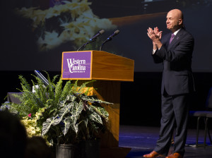 Chancellor Belcher addresses the crowd gathered at the annual Open Assembly. Photo by WCU PR Office.