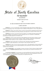 Women's Equality Day proclamation from Gov. Pat McCrory.